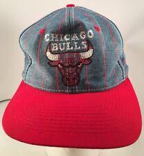 Vintage 90's Chicago Bulls Embroidered Bull Logo Denim Pinstripe Snapback Hat