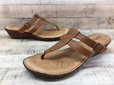 9ffa31ee224d Born Brown Leather Wedge Heel T-Strap Thong Sandals Slides Women s sz 8