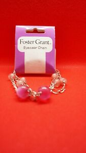 Foster Grant Silver Pink Beaded Fashion Eyeglasses Chain