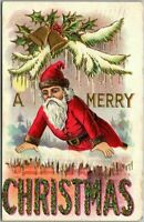 Santa Claus with Bells~ Large Letter~MERRY CHRISTMAS~Antique Postcard-s496