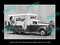 OLD POSTCARD SIZE PHOTO OF SYDNEY NSW KELLOGS RICE BUBBLES CEREAL TRUCK c1940