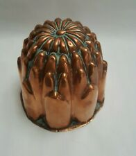 More details for antique copper jelly / jello mould, round dome shape designed like a flower.