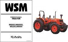 Kubota M6800 M6800S M8200 M9000 Tractor WSM Service Manual CD