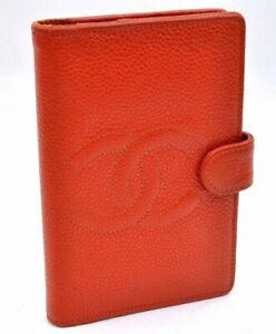 Authentic CHANEL Caviar Skin Organizer Cover Orange A2355