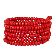 Wooden Beaded Coil Spring Bracelet With 2 Bells Wood Fashion Jewelry - Red Seed
