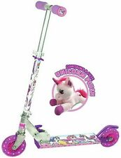 NEW Ozbozz 2 Wheel Rear Footbrake Anti-Slip Unicorn Scooter With Plush Toy Pink