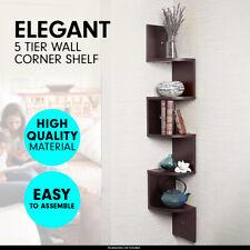 Sarantino Corner Wall Shelf Display Shelves Book Rack Floating Mounted Brown