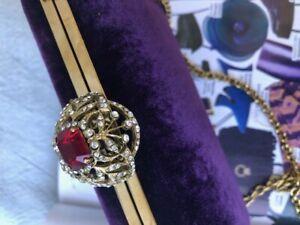 RALPH LAUREN PURPLE LABEL RUSSIAN COLLECTION VELVET BAG WITH FAUX RUBY CLASP