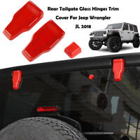 3PCS Tailgate Glass Hinges Cover Wiper Water Spout Trim For Jeep Wrangler JL Red