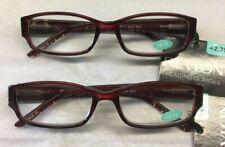2 prs Revlon +2.75 Reading Glasses Jada Red w Rhinestones GR free shipping new!