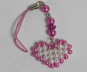 Assorted Color Beads Heart Cell Phone Bags Charms Strap NEW