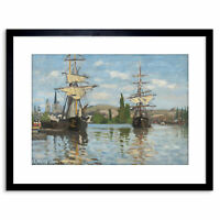 Painting Monet French Ships Riding Seine Rouen Old Framed Print 9x7 Inch