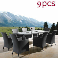 Black 9PCS Outdoor Dining Furniture Set PE Wicker Rattan Garden Table and Chair