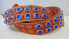 New Double J Saddlery Belt Western 32 Leather Royal Blue Crystal Rhinestones