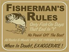 Vintage retro style funny FISHING Fish Rules metal sign Metal wall door Sign