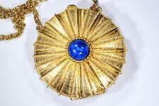 1970s Estee Lauder Necklace Youth Dew Solid Perfume Compact Lucite Cobachon