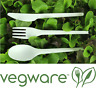 Vegware Compostable Disposable Cutlery Set Knife Fork Spoon - White 50 Sets