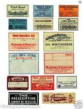 Vintage Primitive Shabby Pharmacy Labels      # FH38
