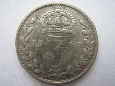 1893 Jubilee Head silver Threepence, GF, Scarce.