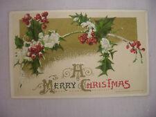VINTAGE EMBOSSED CHRISTMAS POSTCARD SNOWY HOLLY & BERRIES JOHN WINSCH 1911