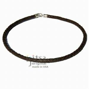 6mm braided Brown leather necklace silver plate clasp