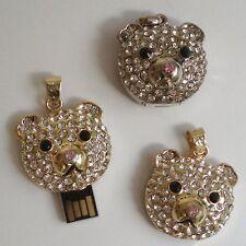 USB STICK 4GB colgante oso Estrás Joya Oso Peluche cabeza rosa NARIZ