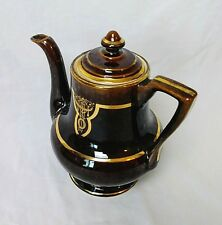 Vintage Fraunfelter Thermo-Proof Teapot - Brown & Gold Glossy w/ Lid