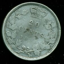 1858 Provence of Canada 20 Cent Piece, Queen Victoria Light Bend   P280