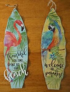 WELCOME TO PARADISE Parrot Flamingo Surfboard Sign Set Tiki Beach Bar Home Decor