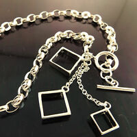 A945 GENUINE REAL 925 STERLING SILVER SF LADIES TBAR DROP PENDANT NECKLACE CHAIN