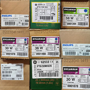 """BOXES OF 25 T8 FLUORESCENT TUBES 18"""" 38"""" 2ft 4ft 5ft 6ft 15w 18w 30w 36w 58w 70w"""