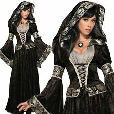 Adult Ladies Dark Sorceress Medieval Witch Vampire Halloween Fancy Dress Costume