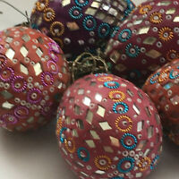 VINTAGE CHRISTMAS ORNAMENTS EGG SHAPED LOT OF 5 MIRRORS BEADS 1970S