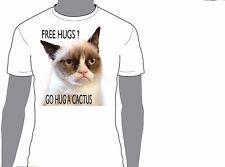 Grumpy CAT FREE HUGS ? birthday,gift,funny.animal,T-shirt 267