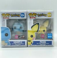 Funko POP Games Pokeon BUNDLE - 504 Squirtle Gamestop + 579 Pichu Wondrous Conv