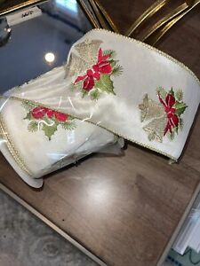 Raz Imports 10 Yards Cream Embroidered  Bells Holly Ribbon Gold Edge R3771776