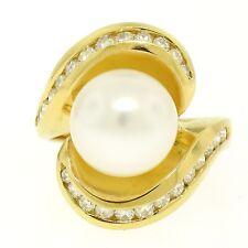 Grand 18k or Jaune 10.6mm Rond Blanc Perle Solitaire & Diamant Cocktail Bague