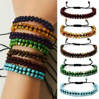 New 4mm Beads Adjustable Double Layer Handwoven Braided Natural Stone Bracelet