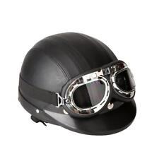 Motorcycle Scooter Open Face Demi casque de cuir avec visière UV Lunettes Retro