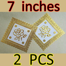 Set of 2 PCS Golden Floral Coasters Mug Cup Glass Holder Thai Lace Kitchen Decor