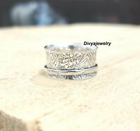 Solid 925 Sterling Silver Spinner,Meditation Ring Statement Ring Size Q RA 113