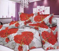 Set Completo Lenzuola Sotto Sopra Federe Matrimoniale Digitale Cuori Rose Rosso