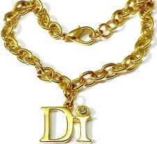bracelet bijou année 80 couleur or pampille DI avec éclat diamant serti * 297