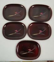 Vintage Authentic Japaneses Tea or Appetizer Lacquer Plates Set of 5