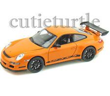 """4.5"""" Welly Porsche 911 997 GT3 RS Diecast Toy Car Orange With Black Wheels"""
