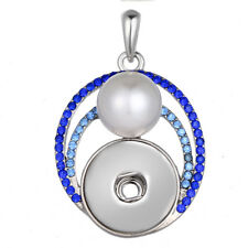 Hot Women Pearl Jewelry Necklace Pendant Fit 18mm Noosa Snap Button N141