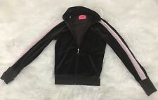 Juicy Couture Womens Velour Jogging Track Jacket Full Zip Pink Brown Sz Small S