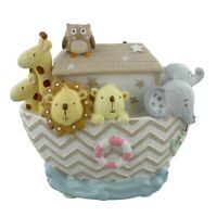 Noah's Ark Animals Resin Money Box Coin Saving Bank New Baby Christening Gift