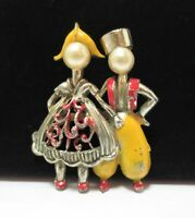 Vtg Traditional Dutch Couple Enamel Brooch Pin Clothing Pearl Heads Red Yellow