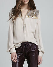 Haute Hippie Scarab Paisley Embellished Beaded Panel Silk Blouse  $395  Size XS